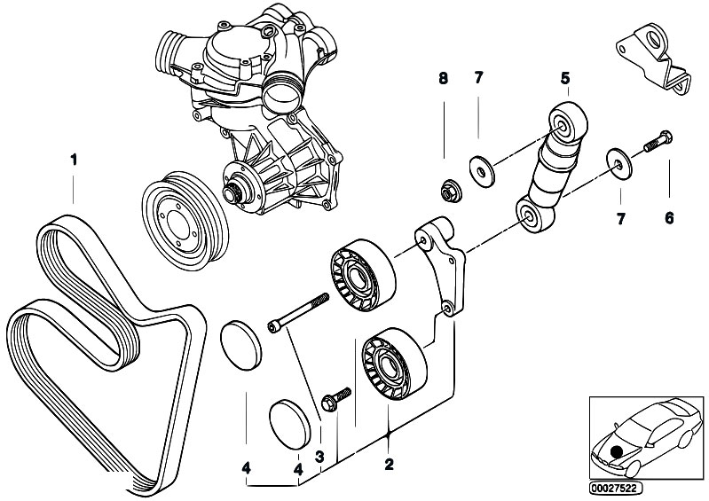 bmw e46 engine with Belt Drive Water Pump Alternator on Lubrication system oil filter together with Air Pump F Vacuum Control additionally 2000 Bmw 323i Vacuum Hose Diagram in addition 2008 Bmw X3 Belt Diagram likewise M43 I205207461.