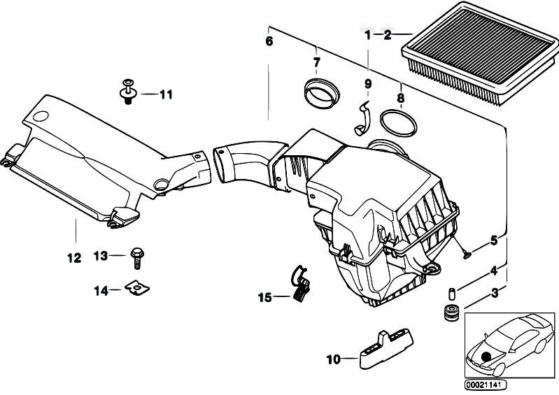 original parts for e46 316i 1 9 m43 sedan    fuel preparation system   suction silencer filter