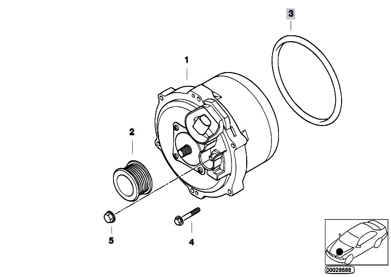 original parts for e65 735i n62 sedan    engine electrical system   alternator water cooled