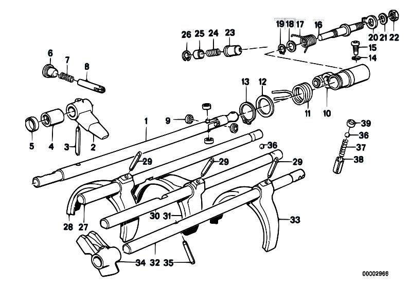 original parts for e30 m3 s14 cabrio    manual transmission   getrag 265 5 inner gear shifting