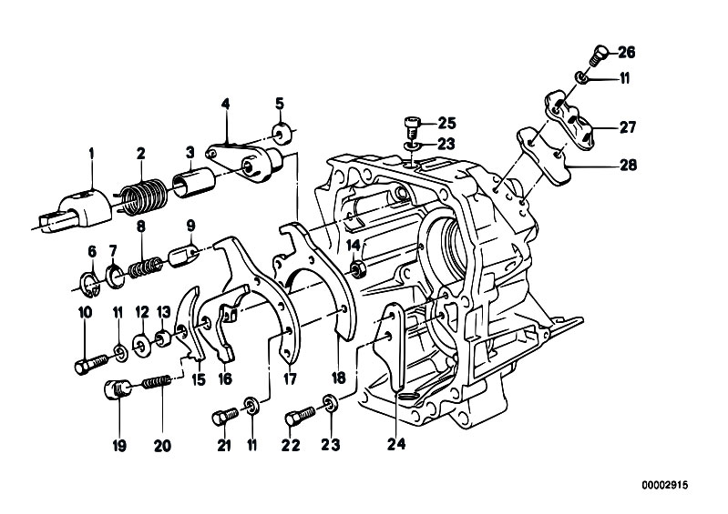 original parts for e34 518i m40 sedan    manual transmission   getrag 240 inner gear shifting