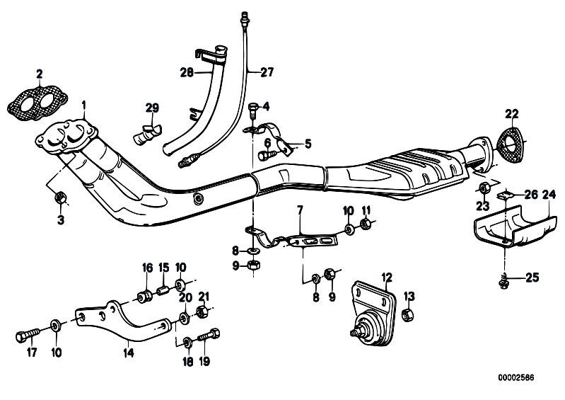 Original Parts For E30 318i M10 4 Doors    Exhaust System
