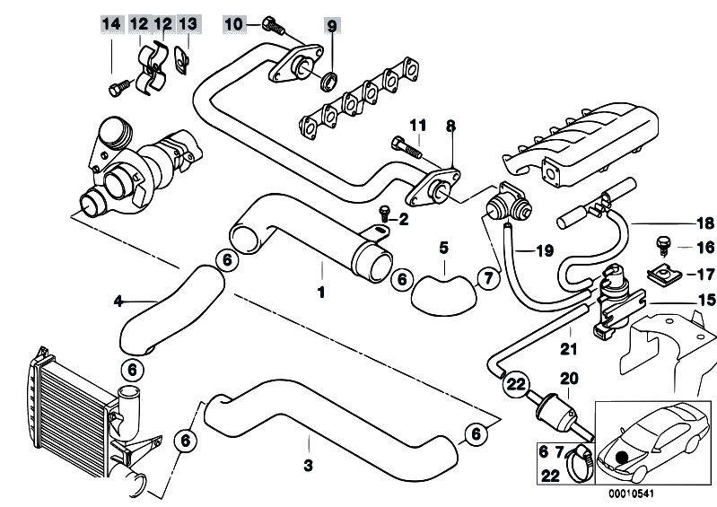 Original Parts for E39 525tds M51 Touring  Engine Intake Manifold Supercharg Air Duct Agr