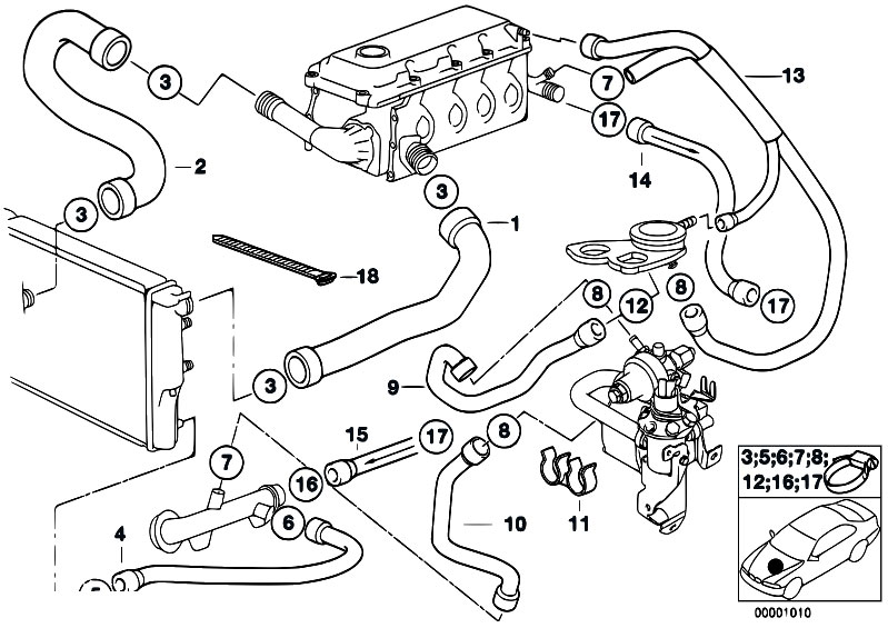 Can Return Line Leak Cause Hard Starting 188130 moreover T18444 Bmw 328 I E36liquide De Refroidissement Qui Disparait together with 1984 Bmw 318i Engine Diagram as well 7 3 Powerstroke Fuel Lines together with 92 Honda Civic Water Pump Location. on water hose diagram 1991 bmw 325i