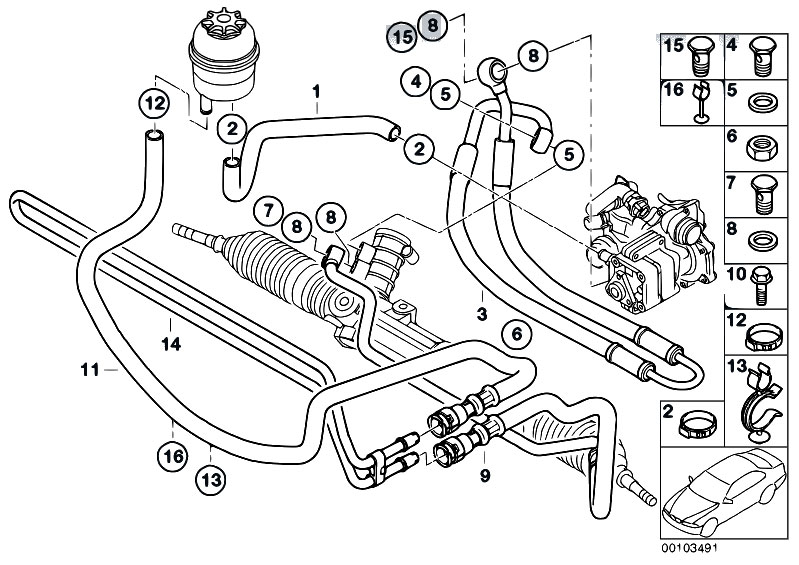 original parts for e46 316ti n42 compact    steering   hydro