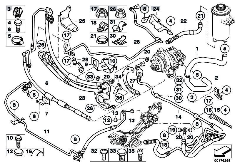 original parts for e70 x5 4 8i n62n sav    steering   power steer fluid lines adaptive drive