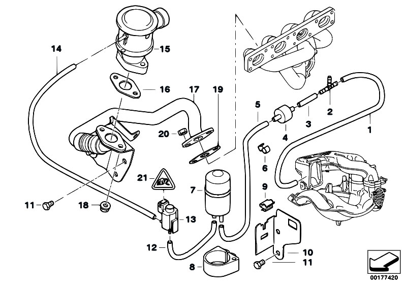 Air Pump F Vacuum Control on bmw m44 engine diagram