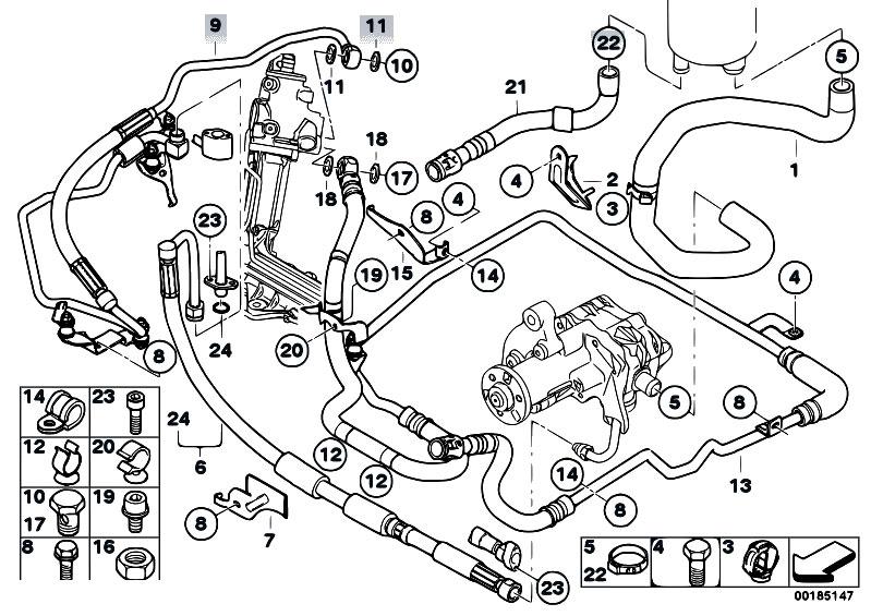 original parts for e70 x5 4 8i n62n sav    steering   hydro steering oil pipes 2
