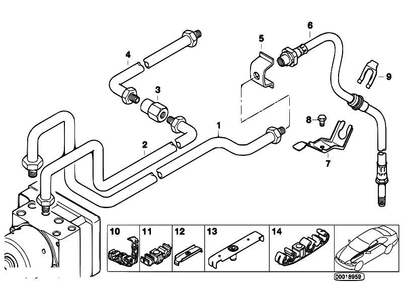 original parts for e46 316i 1 9 m43 sedan    brakes   brake pipe rear abs asc t