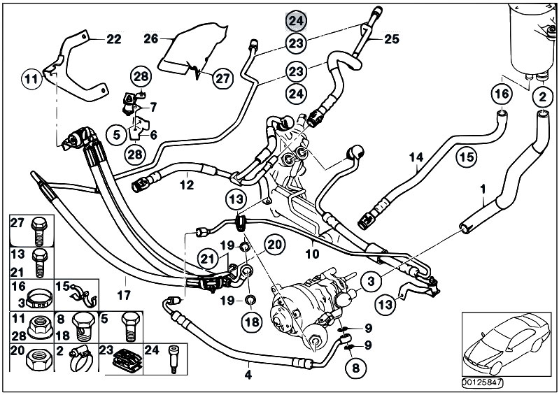 original parts for e65 735i n62 sedan    steering   power