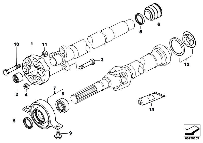 original parts for e70 x5 4 8i n62n sav    drive shaft   flexible disc centre mount insert nut