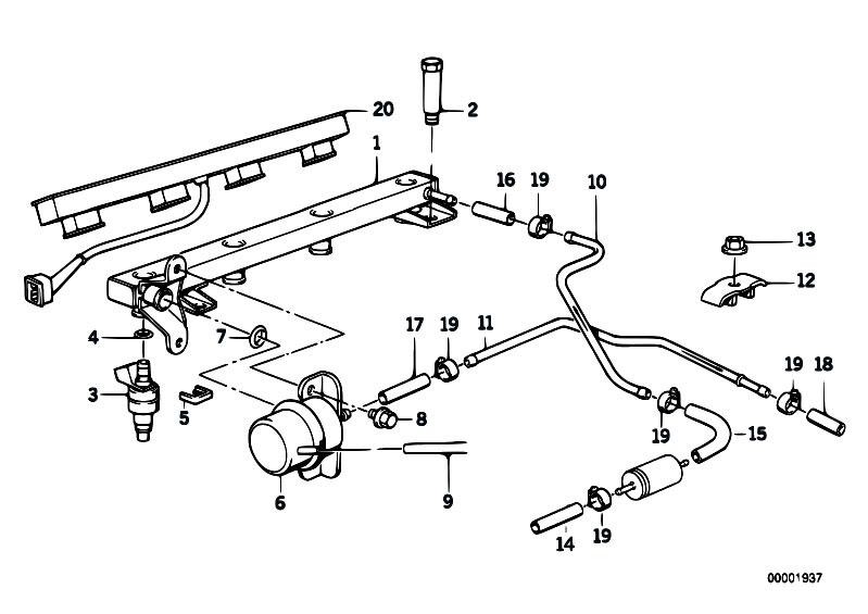 Original Parts for E34 518i    M40    Sedan  Fuel Preparation System Valves Pipes Of Fuel Injection