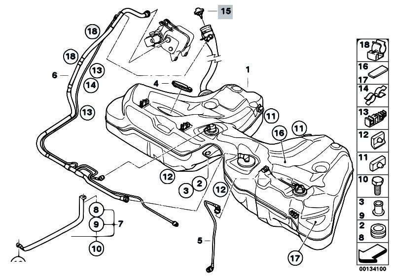 Original Parts For E60 530i N52 Sedan    Fuel Supply   Fuel Tank Mounting Parts