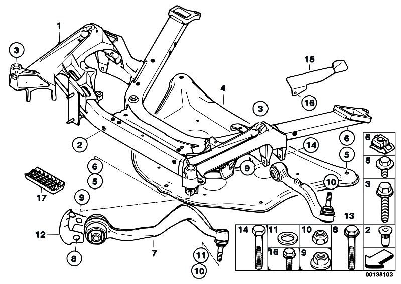 original parts for e67 760lis n73 sedan    front axle   frnt