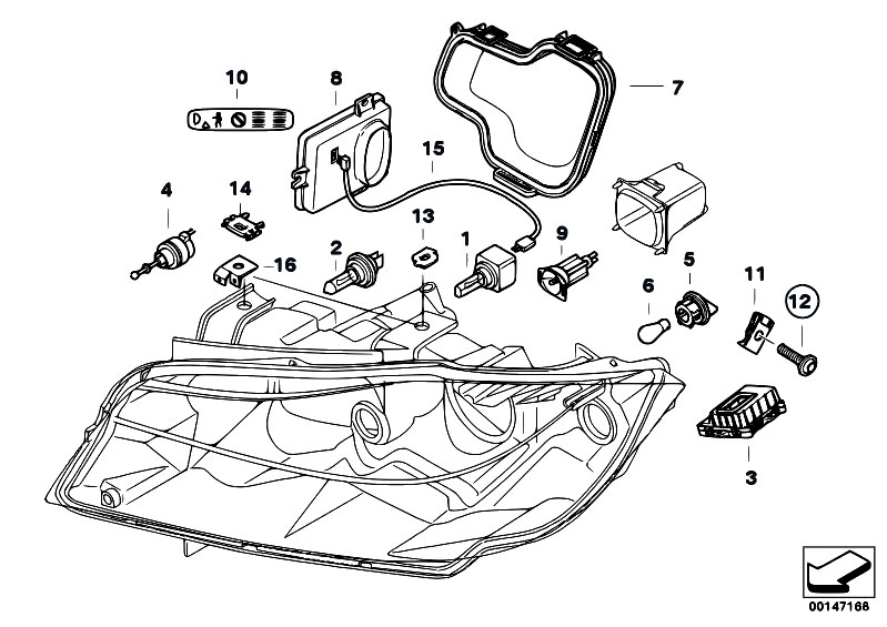 original parts for e90 320si n45 sedan    lighting   single components f headlight xenon alc