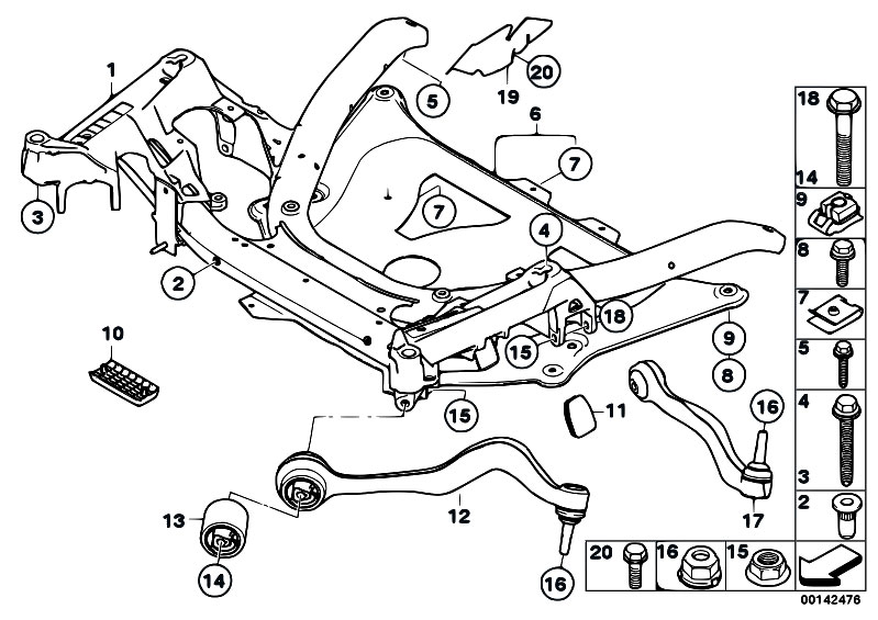 Original Parts For E60 M5 S85 Sedan    Front Axle   Frnt