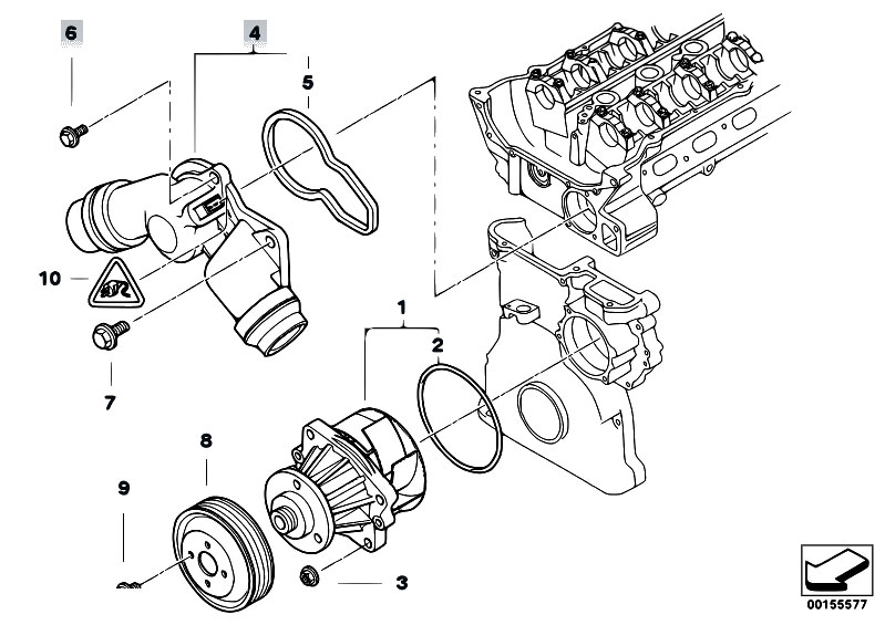 Original Parts For E46 323ci M52 Coupe    Engine   Waterpump