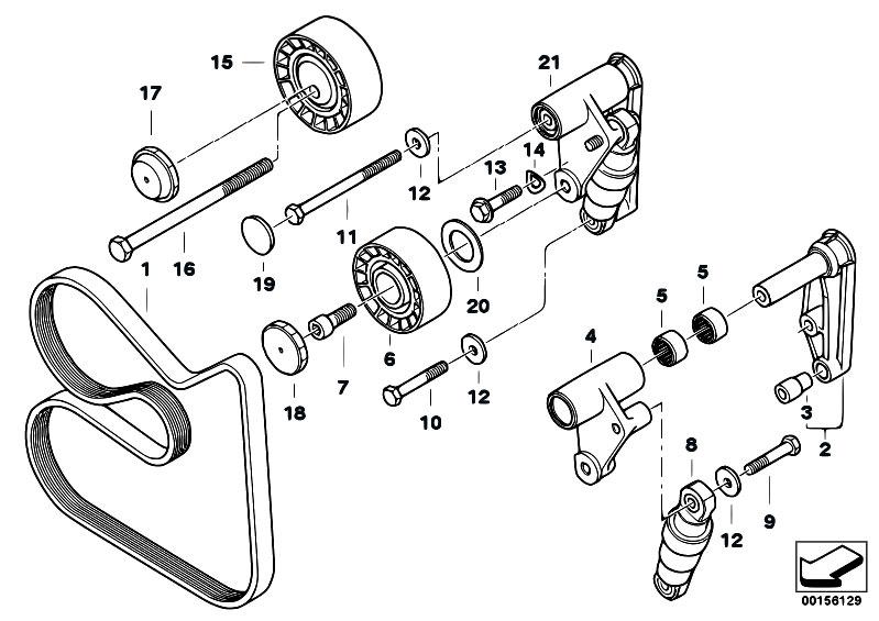 original parts for e46 320i m52 sedan    engine   belt drive
