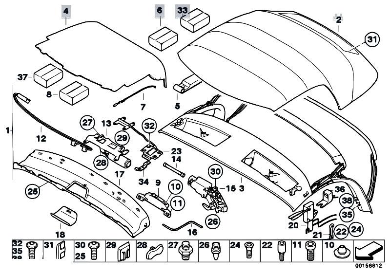 original parts for e85 z4 2 5i m54 roadster sliding roof folding original parts for e85 z4 2 5i m54 roadster sliding roof folding top folding top eh estore central com