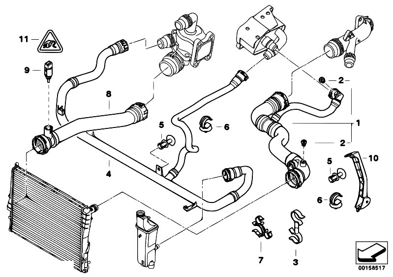 Original Parts For E46 330i M54 Sedan    Radiator   Cooling System Water Hoses