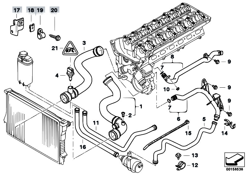 original parts for e39 530i m54 sedan    engine   cooling