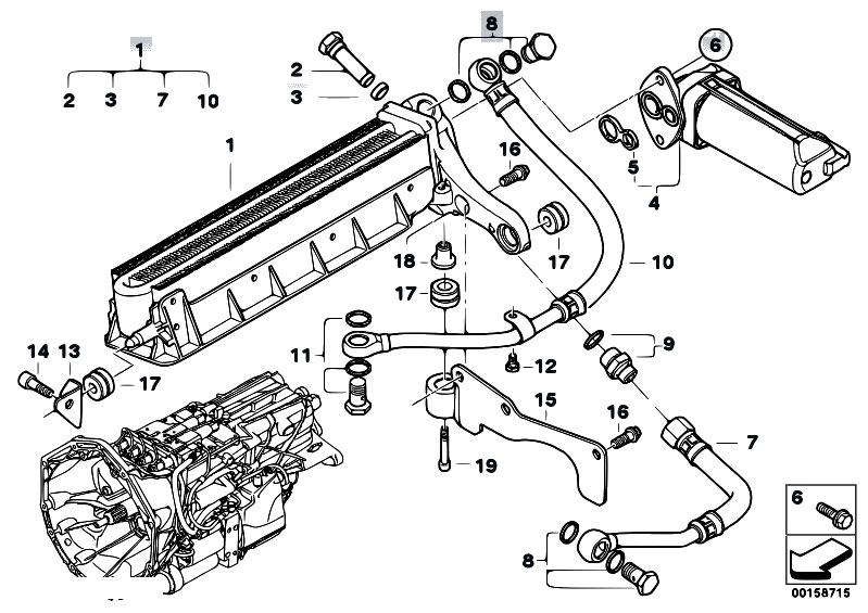 original parts for e60 m5 s85 sedan    manual transmission   gs7s47bg transmission oil cooler