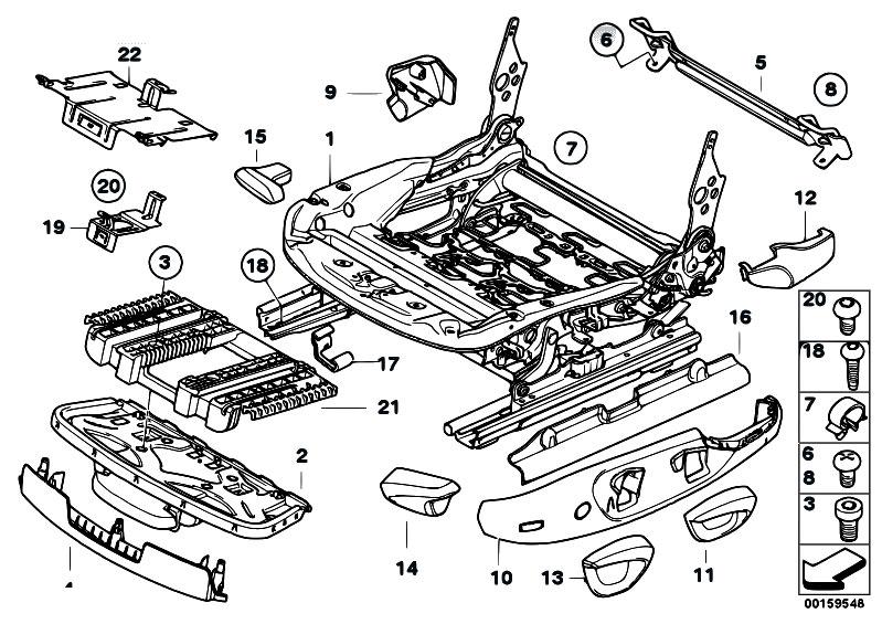 Original Parts for    E90    320si N45 Sedan     Seats    Front    Seat    Rail Mechanical Single Parts  eStore