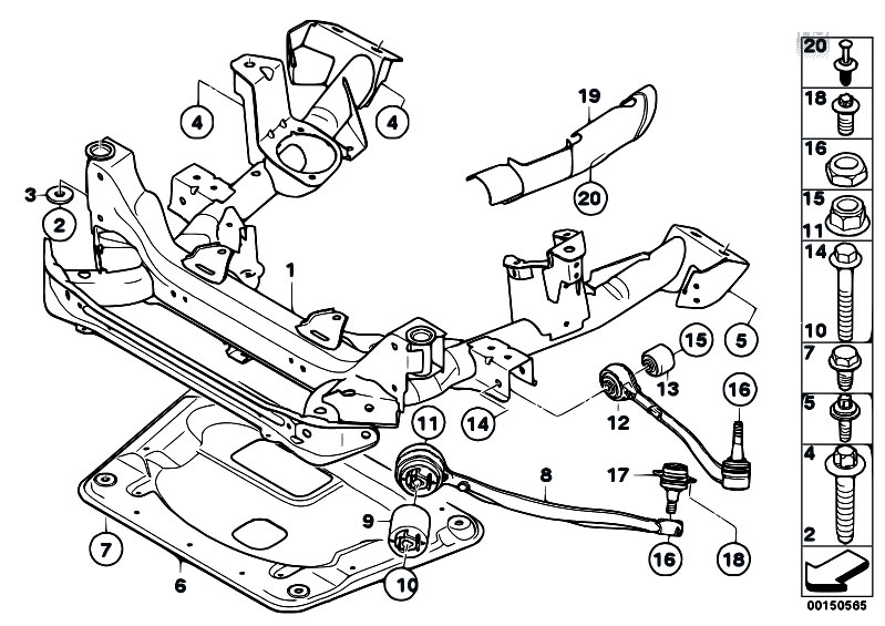 Original Parts For E83 X3 2 0i N46 Sav    Front Axle   Frnt Axle Support Wishbone Tension Strut