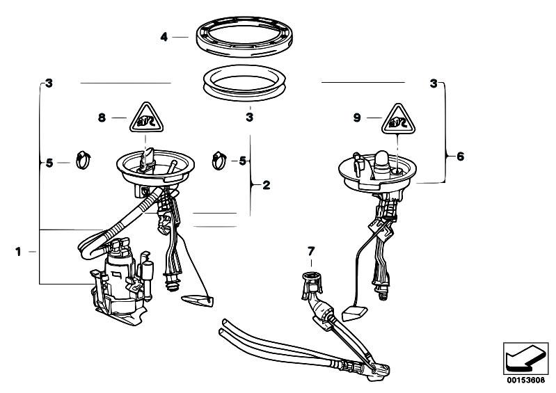 original parts for e39 525d m57 touring / fuel supply ... diagram of the fuel pump sensor