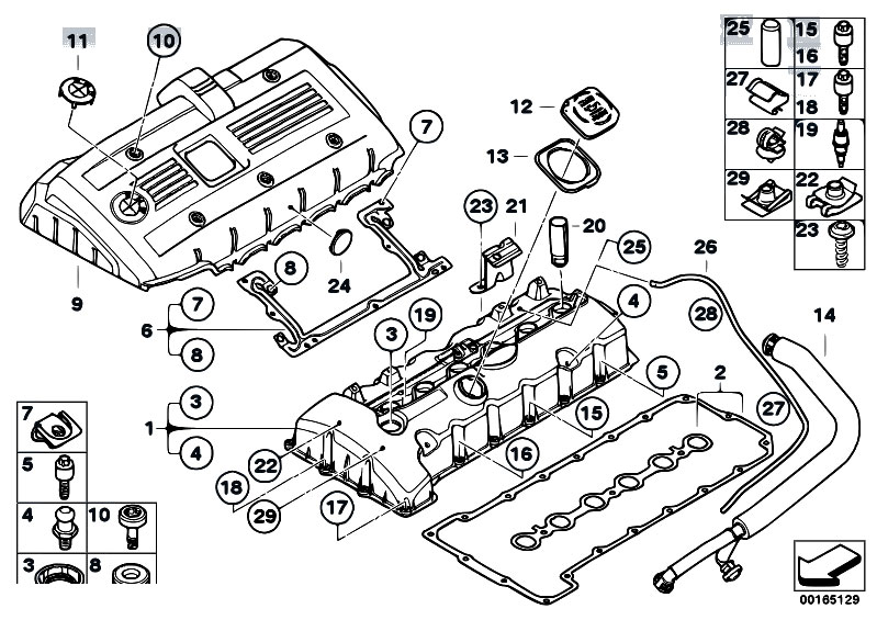 original parts for e60 530i n52 sedan / engine/ cylinder ... bmw e60 wiring diagram servotronic bmw e60 engine diagram