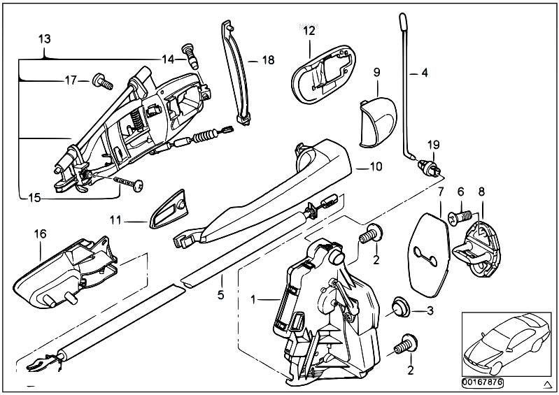 Original Parts For E46 320d M47 Touring    Bodywork   Door Swivel Handle Rr From 09 00