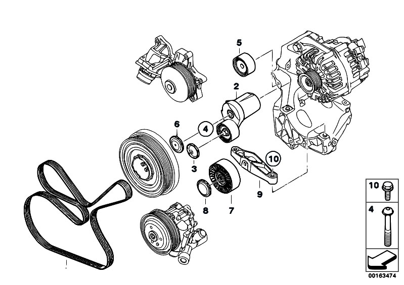 original parts for e81 116d n47 3 doors engine belt. Black Bedroom Furniture Sets. Home Design Ideas
