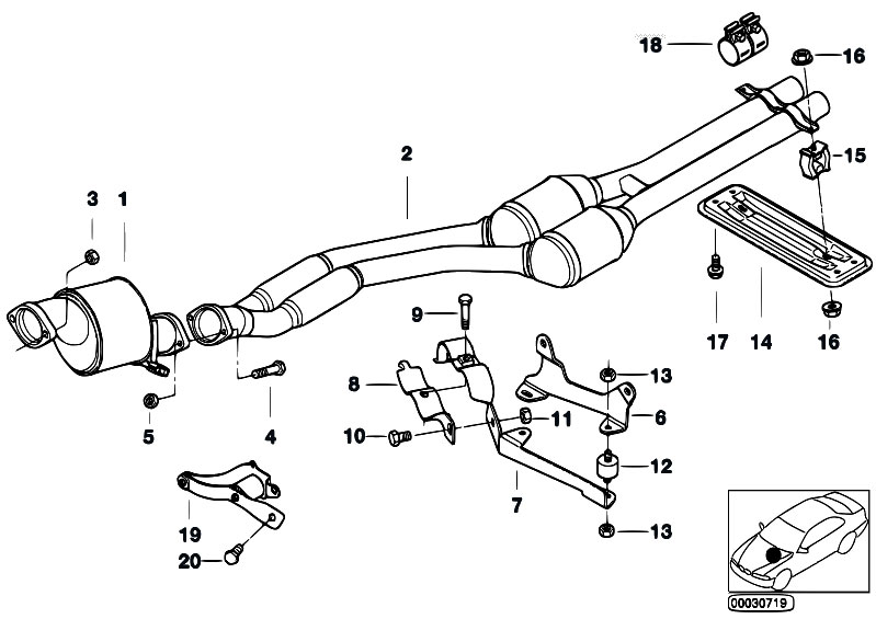 Original Parts For E38 730d M57 Sedan    Exhaust System