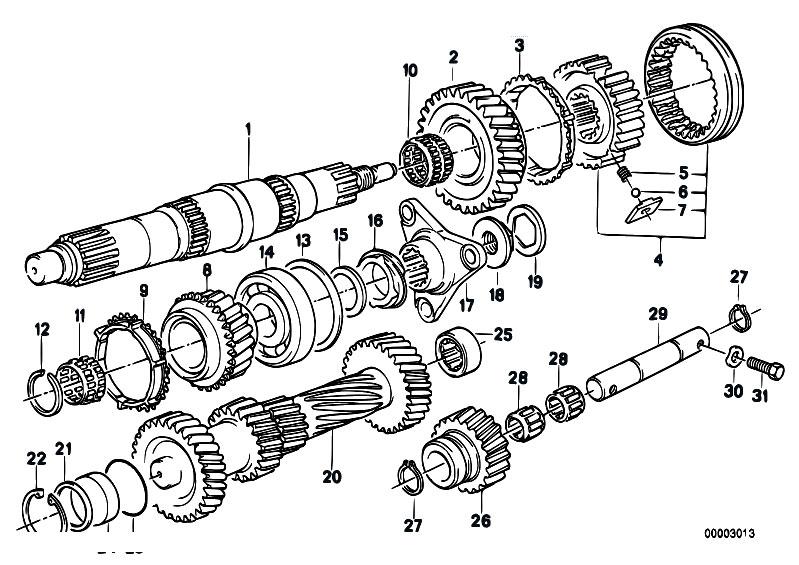 Original Parts For E34 524td M21 Sedan    Manual Transmission   Getrag 260 5 50 Gear Wheel Set