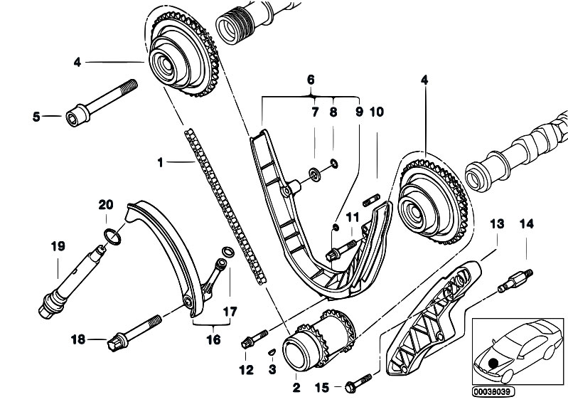 original parts for e38 735i m62 sedan / engine/ timing ... serpentine belt diagram for ls2 m62 belt diagram
