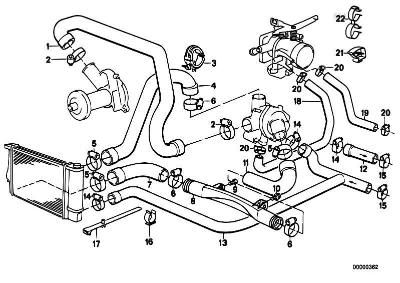 bmw engine cooling system diagram original parts for e34 520i m20 sedan / engine/ cooling ...