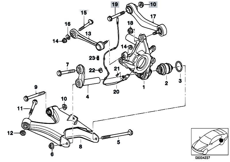 Original Parts For E38 730il M60 Sedan    Rear Axle   Rear