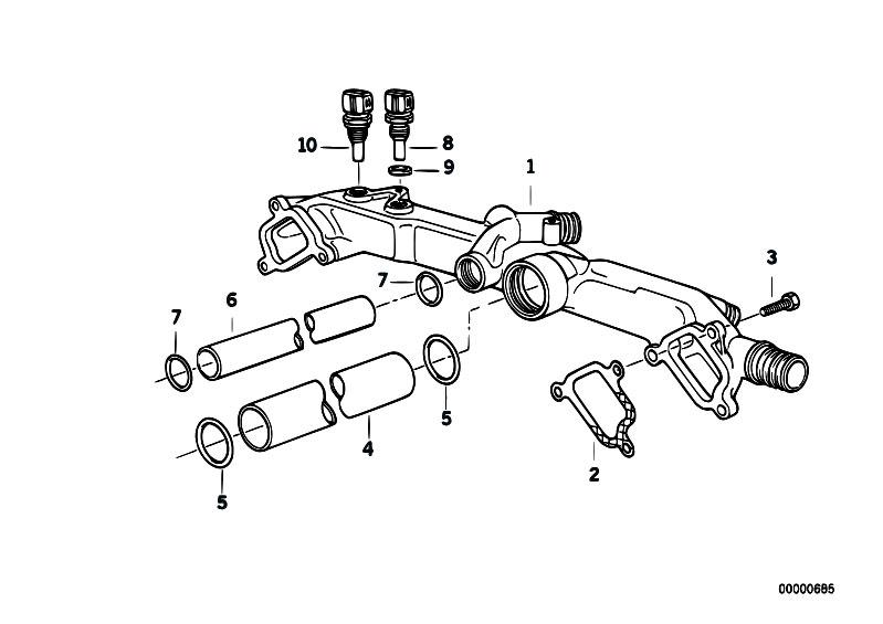original parts for e32 730il m60 sedan engine cooling system pipe estore central