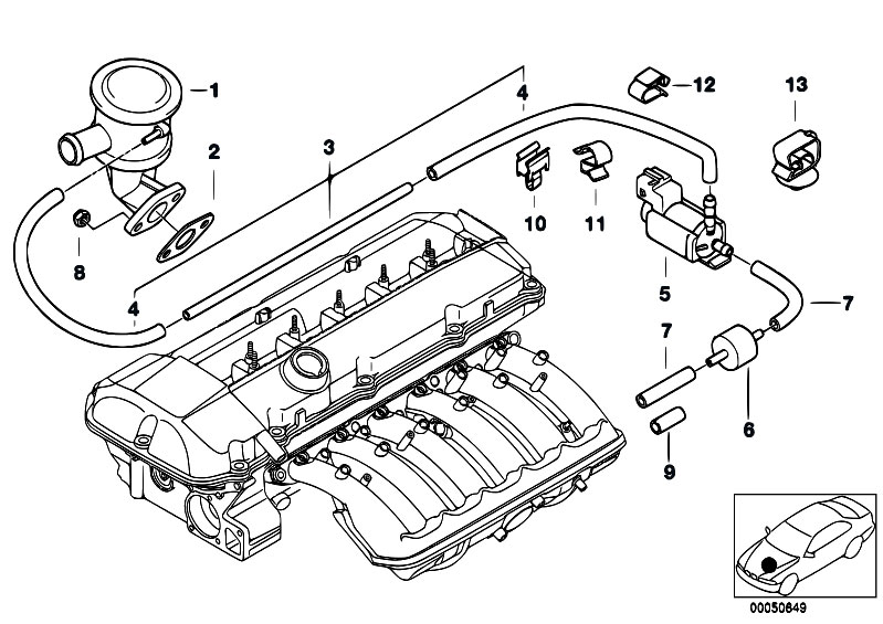 bmw e46 engine with Air Pump F Vacuum Control on Lubrication system oil filter together with Air Pump F Vacuum Control additionally 2000 Bmw 323i Vacuum Hose Diagram in addition 2008 Bmw X3 Belt Diagram likewise M43 I205207461.