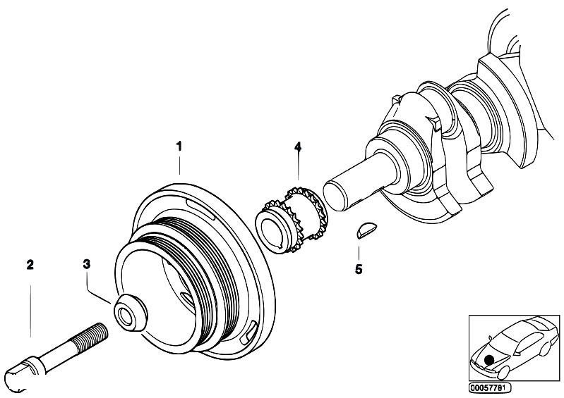 original parts for e60 530i m54 sedan    engine   belt drive vibration damper