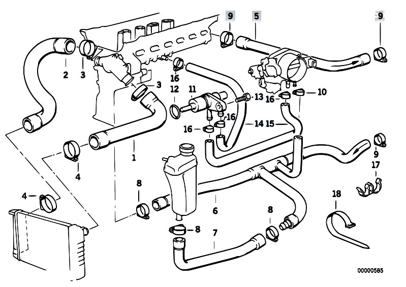 Cooling System Water Hoses 2 on 2000 Bmw 323i Parts Diagram