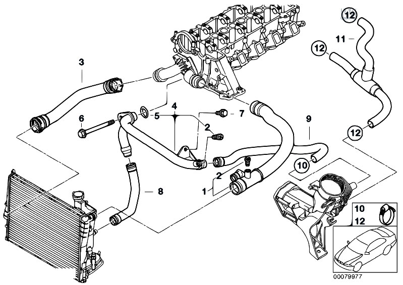 Original Parts For E46 318d M47 Touring    Engine   Cooling System Water Hoses