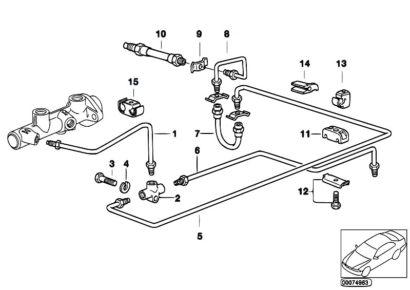 original parts for e34 518i m40 sedan    brakes   brake pipe rear without abs