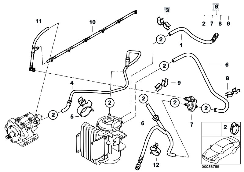 Original Parts For E53 X5 3 0d M57 Sav    Fuel Preparation System   Fuel Lines