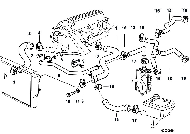 Cooling System Water Hoses on 2000 bmw 528i engine diagram