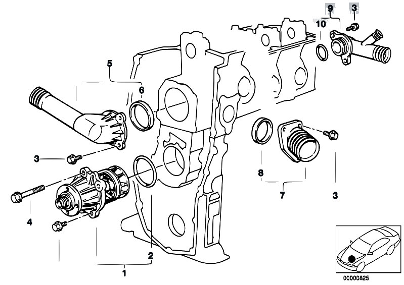 original parts for e34 518i m43 sedan    engine   waterpump