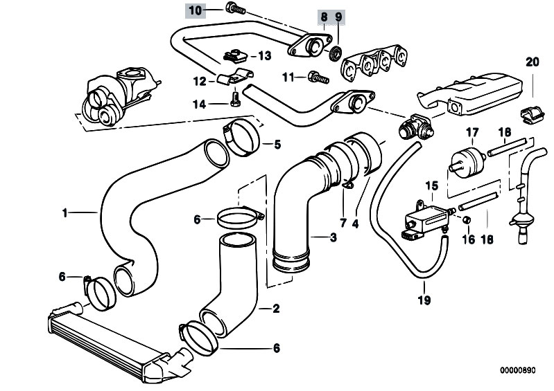 original parts for e36 318tds m41 sedan / engine/ intake ... bmw 318ti engine diagram intake saturn sl2 engine diagram intake #10
