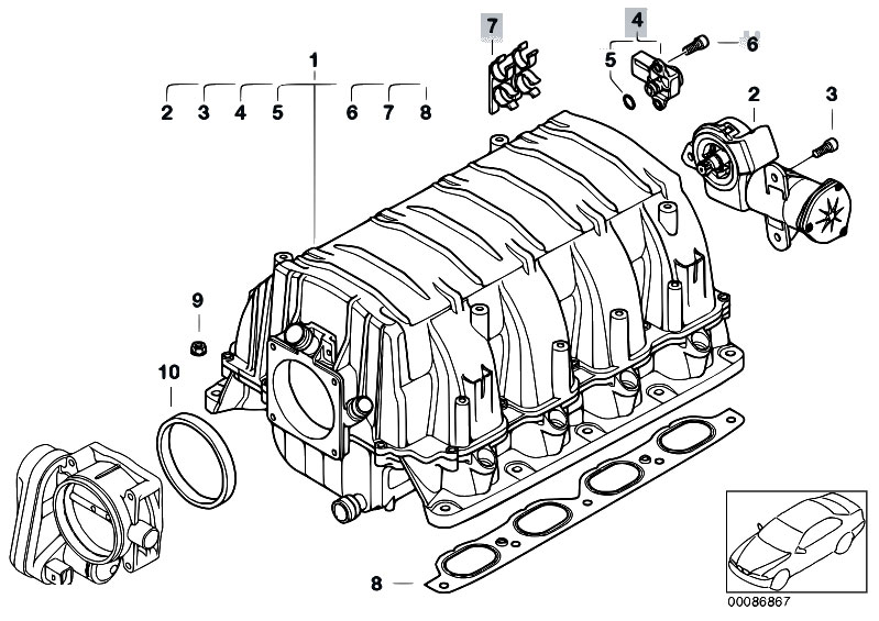 Original Parts For E65 745i N62 Sedan    Engine   Intake