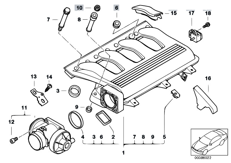original parts for e46 320d m47 sedan engine intake. Black Bedroom Furniture Sets. Home Design Ideas