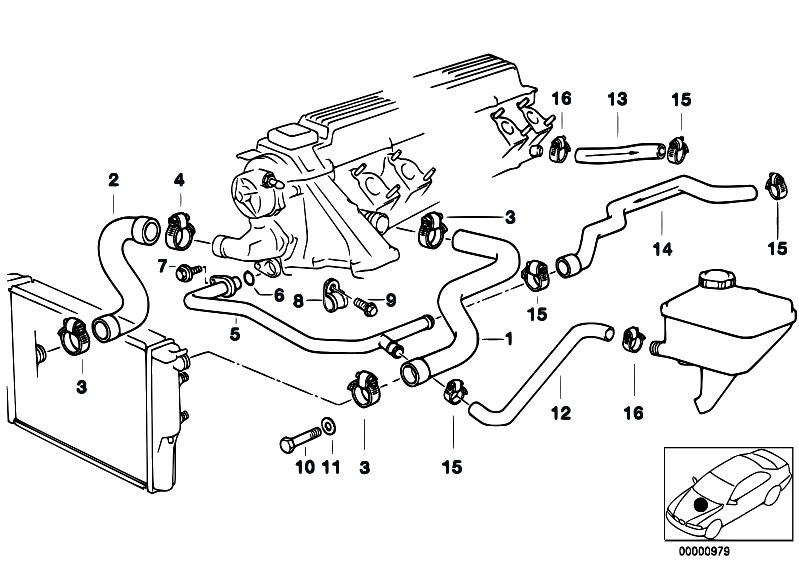 Cooling System Water Hoses on Bmw E30 Cooling System Diagram